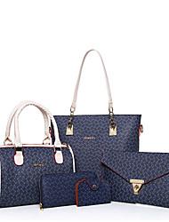 Mulher Bolsas Todas as Estações Couro Ecológico Conjuntos de saco 5 Pcs Purse Set para Azul Branco Rosa Marron
