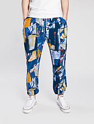 Da uomo A vita medio-alta Semplice Media elasticità Chino Pantaloni,Harém Con stampe