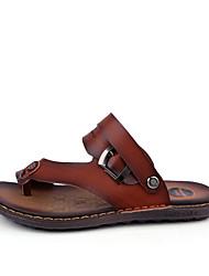 Men's Sandals Comfort PU Summer Outdoor Flat Heel Dark Brown Light Brown Under 1in