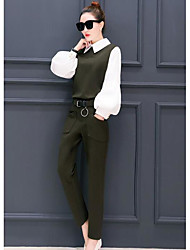 cheap -Women's Work Street chic Spring Shirt Pant Suits,Solid Shirt Collar Long Sleeve Cotton/nylon with a hint of stretch