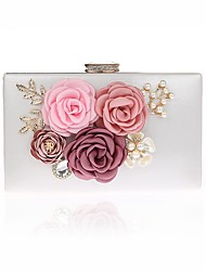 Women Bags All Seasons Polyester Evening Bag Appliques Floral Pattern for Event/Party Gold White Black Red Fuchsia