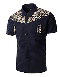 Men's White-collar Office Casual  Summer Stand Collar Leopard Pattern Splicing Color Navy Blue Shirt
