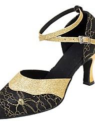 "cheap -Women's Modern Sandal Heel Professional Laces Buckle Sparkling Glitter Customized Heel Black Almond 1"" - 1 3/4"" 2"" - 2 3/4"" 3"" - 3 3/4"""