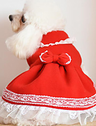 Dog Dress Dog Clothes Cute Christmas Bowknot Yellow Fuchsia Red Blue Blushing Pink