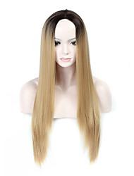 Ženy Dlouhý Blonďatá Rovné Umělé vlasy Bez krytky Přírodní paruka paruky