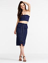 abordables -Mujer Blusa Conjunto - Un Color, Separado Falda