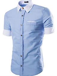 Недорогие -Для мужчин На каждый день Рубашка Классический воротник,Шинуазери (китайский стиль) Шахматка С короткими рукавами,Хлопок