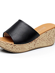 Women's Sandals Casual Leather Summer Daily Wedge Heel Ivory Ruby Black White 2in-2 3/4in