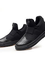 Damen Flache Schuhe PU Frühling Herbst Walking Elastisch Flacher Absatz Schwarz Schwarz und Gold Schwarz und Silbern 5 - 7 cm