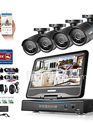 SANNCE® 8CH 4PCS 720P LCD DVR Weatherproof Surveillance Security System Supported Analog AHD TVI IP Camera