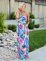 cheap -Women's Daily Going out Street chic Sheath Dress,Floral Strapless Maxi Sleeveless Polyester Spandex Summer High Rise Micro-elastic Thin