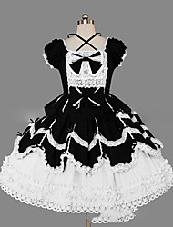 cheap -Gothic Lolita Dress Sweet Lolita Dress Princess Women's Girls' One Piece Dress Cosplay Cap Short Sleeves Short / Mini