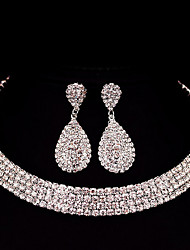 cheap -Women's Rhinestone Jewelry Set 1 Necklace / 1 Pair of Earrings - Classic / Basic / DIY Square Silver Jewelry Set For Christmas Gifts /