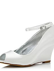 economico -Da donna scarpe da sposa Comoda Seta Primavera Autunno Formale Serata e festa Comoda Fibbia Zeppa Avorio 5 - 7 cm