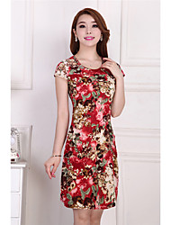 Women's Going out Casual/Daily Loose Dress,Floral Round Neck Above Knee Short Sleeve Others Summer High Rise Stretchy Thin