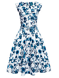 Women's Plus Size Going out Party Vintage Sheath Dress,Floral Square Neck Knee-length Sleeveless Cotton Polyester Summer High Rise