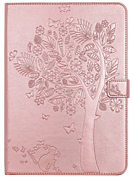 cheap -Case For Apple iPad 4/3/2 iPad Air 2 iPad Air Card Holder Wallet with Stand Flip Embossed Full Body Cases Cat Butterfly Tree Hard PU