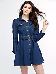 Women's Casual Micro-elastic Long Sleeve Above Knee Dress (Denim)