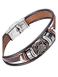 cheap -Men's Leather Bracelet - Leather Natural, Fashion Bracelet Brown For Special Occasion / Gift / Sports