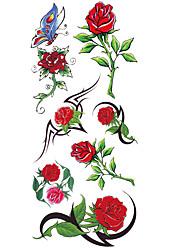 Недорогие -С рисунком / Нижняя часть спины / Waterproof руки / рука / запястье Временные татуировки 1 pcs Тату с цветами Искусство тела