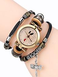 cheap -Top Women Premium Genuine Leather Watch Triple Bracelet Watch Dragonfly Charm Wristwatch Fashion Para Femme