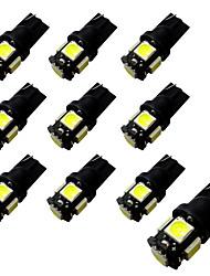 10pcs ba9s / t10 quadro-negro 2w 5 * 5050 smd led luz de leitura luz branca 6500-7000k 12v