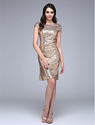 Sheath / Column Bateau Neck Knee Length Sequined Cocktail Party Homecoming Prom Dress with Sequins by TS Couture®