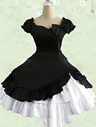 cheap -Gothic Lolita Dress Princess Women's Girls' One Piece Dress Cosplay Pink Black Red Cap Short Sleeves Short / Mini