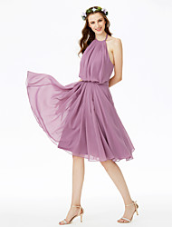 A-Line Halter Knee Length Chiffon Bridesmaid Dress with Bow(s) Sashes / Ribbons Pleats by LAN TING BRIDE®