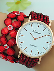 Women's Quartz Large Dial Leather Band Flower Bohemian Bracelet Watch