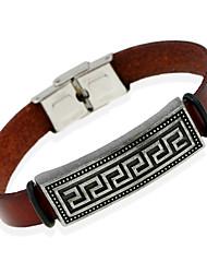 Недорогие -Муж. Кожаные браслеты - Кожа Природа, Мода Браслеты Коричневый Назначение Особые случаи Подарок