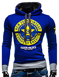 Men's Sport Daily Hoodie Print Hooded strenchy 100%Cotton Long Sleeve Spring Fall Winter
