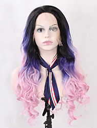 cheap -Ombre Three Tones Synthetic Lace Front Body Weave Wig Black Ombre Blue Pink Wig Heat Resistant Glueless Natural Wavy Women's Hair Synthetic Wigs