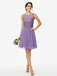cheap -A-Line Jewel Neck Knee Length Chiffon Lace Bridesmaid Dress with Lace Sash / Ribbon by LAN TING BRIDE®