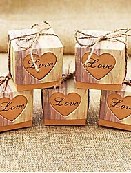 cheap -50pcs Rustic Sweetheart Love Kraft Favor Box Gift Box Party Candy Box 5x5x5cm/pcs Beter Gifts® Wedding Decoration