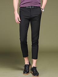 Da uomo A vita bassa Vintage Semplice Moda città Media elasticità Chino Lavoro Pantaloni,Dritto Taglia piccola Tinta unita Tinta unita