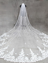 One-tier Cut Edge Wedding Veil Cathedral Veils With Appliques Tulle Netting