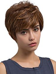 cheap -Oblique Fringe Fluffy Medium Brown Short Hair Synthetic Wigs