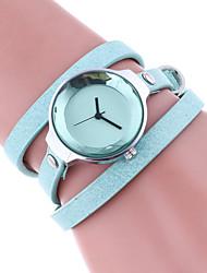 economico -Per donna Orologio braccialetto Quarzo Colorato Pelle Banda Casual Nero Bianco Rosso Marrone Beige Blu marina Rose