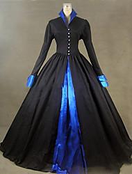 abordables -Victorien Rococo Costume Femme Robes Costume de Soirée Bal Masqué Noir Vintage Cosplay Autre Manches Longues Mancheron Longueur Sol Ras