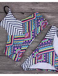 Womens Vintage Floral High Neck Tribal Triangle Wave Bikini