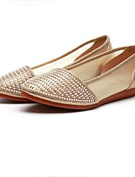 cheap -Women's Shoes Tulle Fabric Spring Summer Comfort Flats Flat Heel Pointed Toe Beading Sparkling Glitter for Casual Office & Career Gold