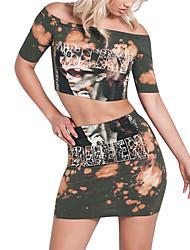 T-shirt Gonna Completi abbigliamento Da donna Quotidiano Casual Casual Primavera Estate,Monocolore Parole/frasi Rotonda Retrò Manica corta