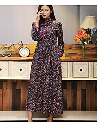 Women's Casual/Daily Vintage Swing Dress,Floral Stand Maxi Long Sleeve Others Spring Summer Mid Rise Micro-elastic Medium