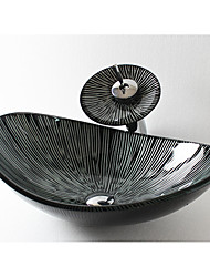 Contemporâneo Rectângular material dissipador é Vidro Temperado Pia de Banheiro