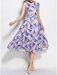 Balançoire Robe Femme Bureau/CarrièreFleur Col Arrondi Mi-long Sans Manches Polyester Eté Taille Normale Non Elastique 30D