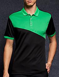 baratos -Homens Polo Activo Estampa Colorida Colarinho de Camisa / Manga Curta