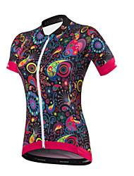 cheap -Malciklo Women's Short Sleeves Cycling Jersey - Black Floral / Botanical British Bike Jersey, Quick Dry, Anatomic Design, Ultraviolet