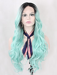 cheap -High Quality Long Wavy Black Ombre Mint Green Synthetic Lace Front Wigs for Women Heat Resistant Half Hand Tied Glueless Fiber Hair On Sale