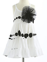 cheap -Girl's Polka Dot Lattice Dress, Cotton Summer Sleeveless Dot White